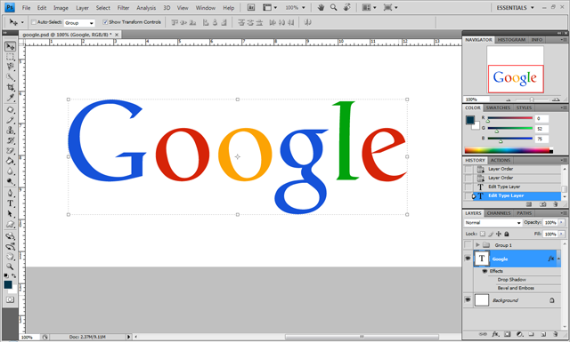 Google logo without effects